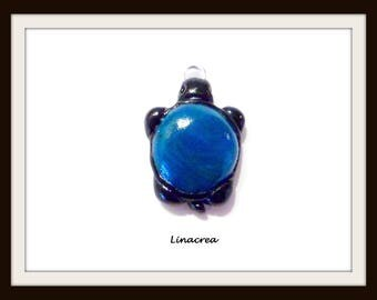 Black blue 21 mm x 16 mm polymer clay turtle charm pendant