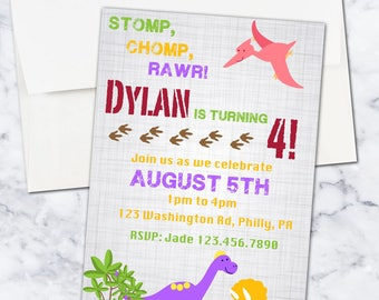 Dinosaur 4th Birthday Party Invitation, 5x7, Gender Neutral, Digital Download