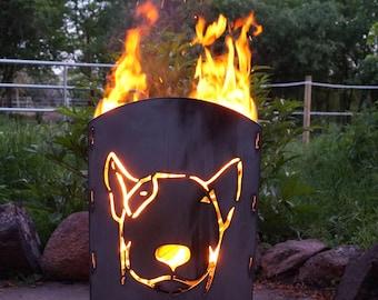 Fireplace fire Bowl Terassenfeuer fire basket angular Bull Terrier dog