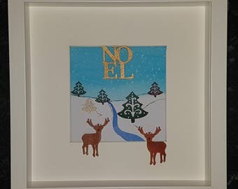 Reindeer Christmas watercolour pebble art picture