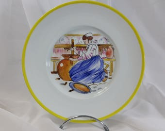 """Limoges porcelain plate hand painted """"baratteuse"""" by Mathurin Méheut"""