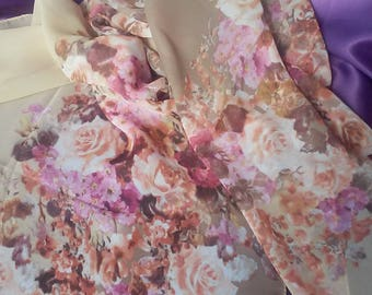 Brown Beige Scarves Roses Scarf Floral Printed Scarf Floral Boho Shawl Bohemian Scarves Women Silk Scarf Polyester Scarves Christmas Gift