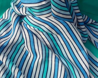 Striped Scarf Blue White Mint Turquoise Striped Shawl Multicolor Striped Scarf Gift  Women's Scarf Bohemian Shawl Boho Scarves Hipster Style