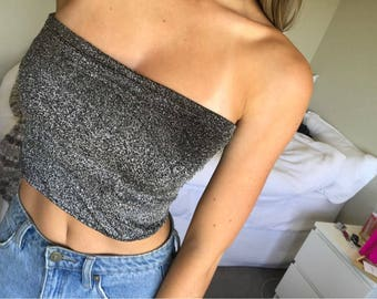 Glitter sparkle tube crop top cami bandeau