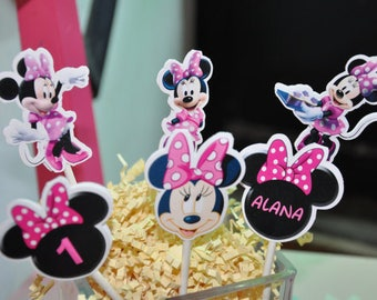 Minnie Mouse Cupcake Toppers set of 12