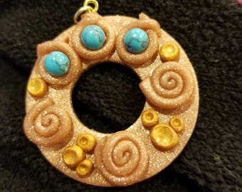 Turquoise and rose gold eye glass holder pendant