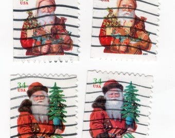 Christmas Santa Claus 34 Cent Stamps (7). Used. Off paper. Scott 3541-3544. Great for decoupage, collecting, and any other craft projects.
