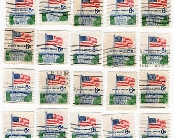 US Flag Over White House - Blue 6 cent - Postage Stamps (20) - Used - Off Paper