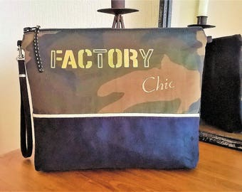 LARGE POUCH / bag fabric camouflage and Black Suede