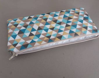 Coated canvas zippered pouch