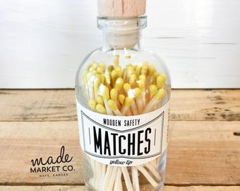 Yellow Tip Colored Matches. Match Sticks Decorative Glass Bottle. Farmhouse Home Decor. Unique Gifts for her. Best Seller Most Popular Item