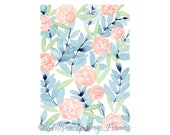 Abstract Watercolor Florals - Light Blue & Light Pink - With or Without Frame