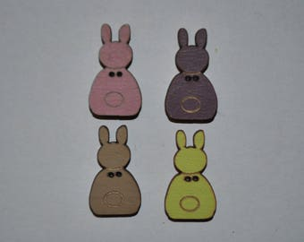 set of 4 buttons wood rabbit child/baby/sewing/scrapbooking/deco 54