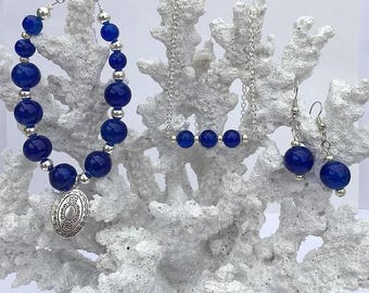 Cobalt blue glass, cobalt blue necklace, cobalt blue earrings, cobalt blue bracelet, silver locket, jewelry set, crackled glass, under 50