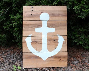 Reclaimed Pallet Wood White Anchor Sign