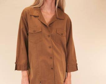 Amazing chocolate tunic vintage button up with wide 3/4 sleeves SIZE L
