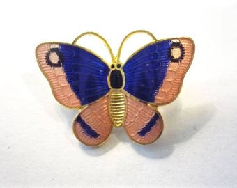 Vintage Cloisonne Butterfly Brooch / Pin * Coral and Navy on Gold Tone Metal * From Family Estate (10)