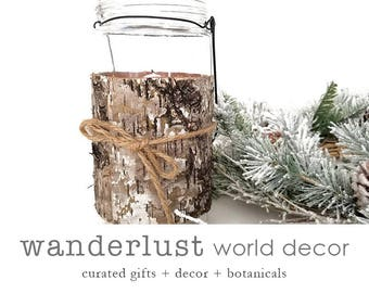 Birch candle holder, Christmas decor, hanging votive, birch votive, birch decor, birch centerpiece, birch vase, rustic votive, rustic birch