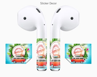 AirPods Stickers Summer, Hippie, 2-Sets, Wraps, Skin, Cover, Decal