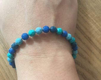 Shades of blue green faceted Beads Bracelet