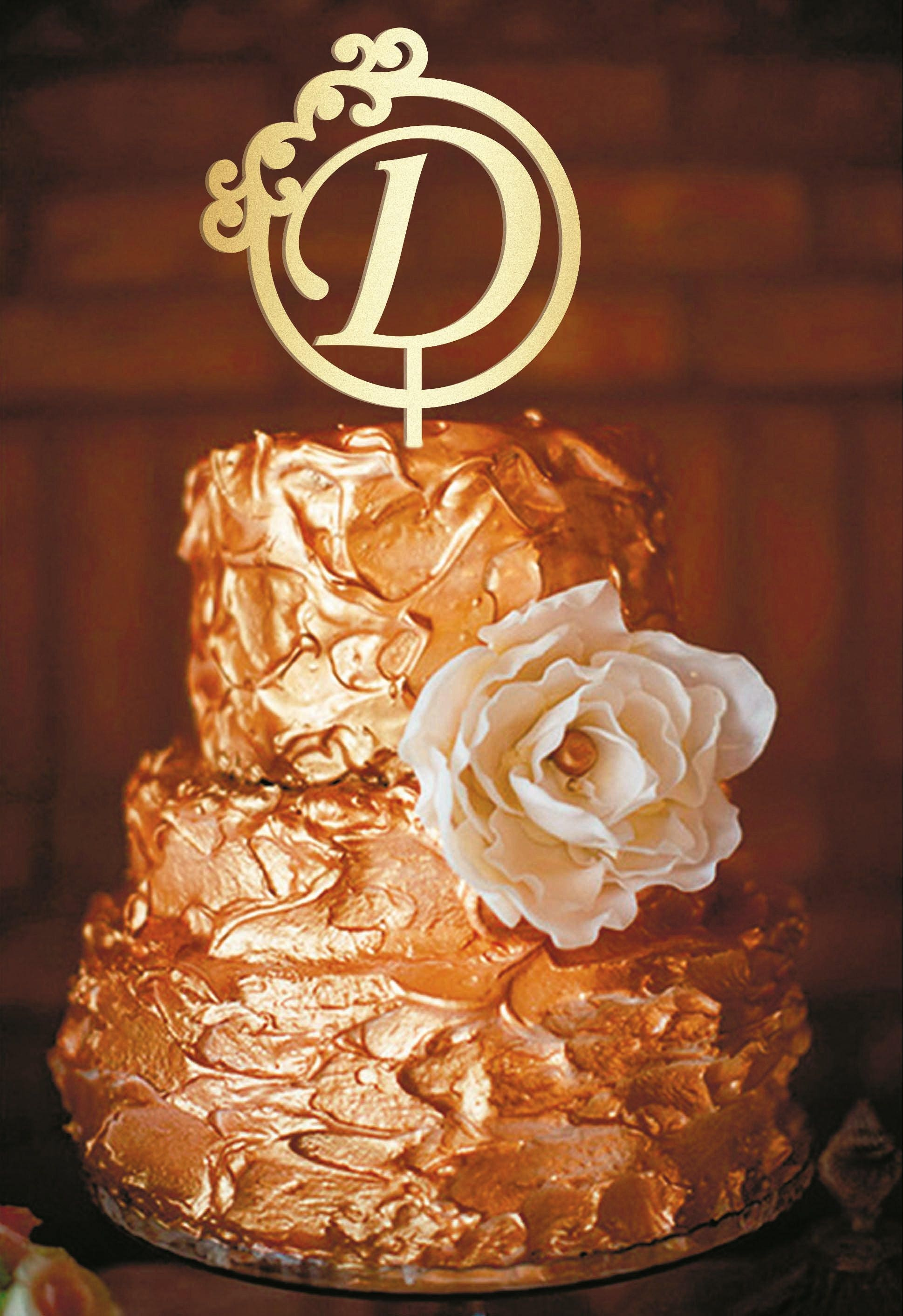 d letter wedding cake topper gold monogram wedding cake topper d
