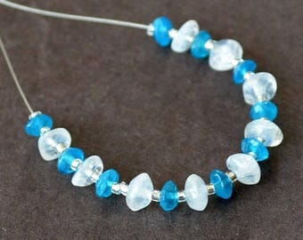 Very nice set of 19 rondelle of apatite and Moonstone stone