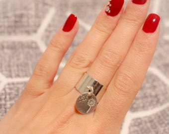 Large 925 sterling silver dandelion coin ring
