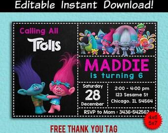 Trolls Invitation, Trolls Editable Birthday Invitation Template, Trolls Digital, Trolls PDF Invite, Trolls Thank You Tag Free, Editable PDF