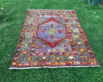 TURKISH VINTAGE OVERDYED Rug , Oushak Rug, Turkish Handmade Rug, Vintage Rug