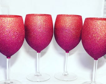 4 Ombre Glitter Wine Glasses Mother's Day Gift