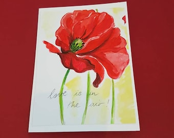 Hand Painted greeting card Red Poppy Card Watercolour