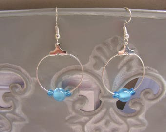 """Earrings """"Creole"""" in turquoise blue glass beads"""