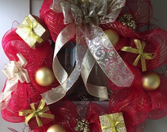 Christmas Holiday Red and Gold deco mesh wreath