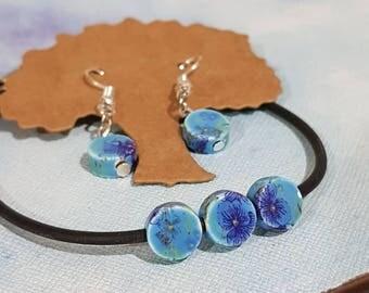 Boho Cute Blue Floral Porcelain Bead Earring and Bracelet Set