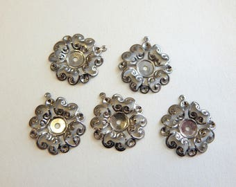 set of 5 cups retro pendant 23 mm silver metal