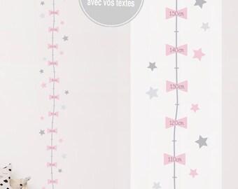 """Toise adhésive personnalisable """"Constellation - fille"""" avec le texte de votre choix (sticker personnalisé) - décoration chambre bébé fille"""