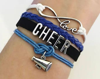 Cheer bracelet, Cheerleader gift, Cheerleading jewelry, Megaphone charm, Cheer squad Gift, Cheer Team, Infinity cheer White/Royal/black