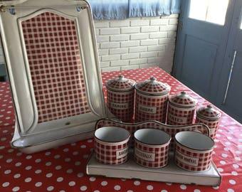 Vintage set of enamel kitchenalia