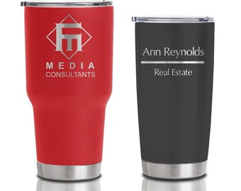 20 ounce and 30 ounce Double Walled Stainless Steel Tumblers - Custom Business Logo for event and corporate gifts