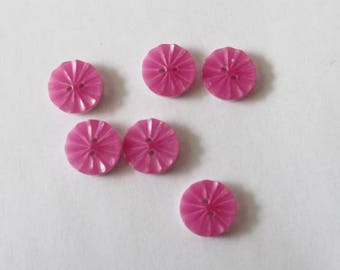 6 buttons round 15mm hot pink