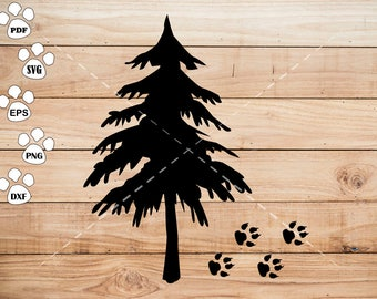 Tree and Bear Footprints SVG Files, Tree Clipart, cricut, cameo, silhouette cut files commercial & personal use