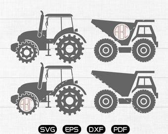 Kractor Svg, Dump Truck Clipart, Monogram Frame cricut, cameo, silhouette cut files commercial & personal use