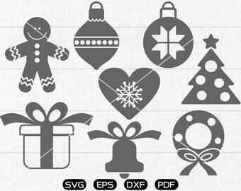 Christmas ornaments Clipart , Gift Box,  Christmas Bell, christmas tree Svg, cricut, cameo, silhouette cut files commercial & personal use