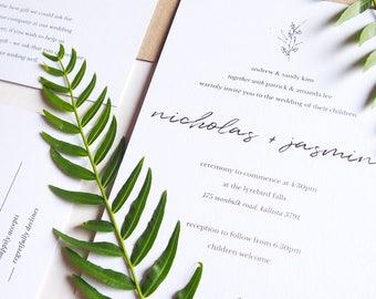 Minimal Hand-Foiled Botanical Motif Wedding Invitation Suite Sample
