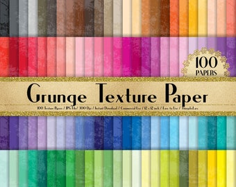 "100 Grunge Texture Papers in 12"" x 12"", 300 Dpi Planner Paper, Scrapbook Paper,Rainbow Paper,100 Flower Papers,100 Grunge Paper"