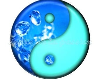 Set of 2 cabochon 16mm round blue vintage Yin Yang, water glass