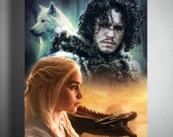 Game of Thrones Poster - The White Wolf & The Dragon Queen - Daenerys - Jon Snow - Professionally Printed via Vistaprint