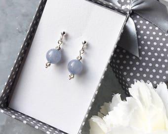JADE beaded EARRINGS,dangle earrings,light blue color,sterling silver Earrings,Fashion Jewelry Earrings,jade elegant jewelry