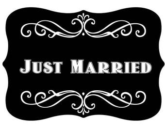 Just Married Vintage Style Photo Booth Word Prop Sign