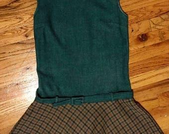 1960s Mod Wool Drop-Waist dresss